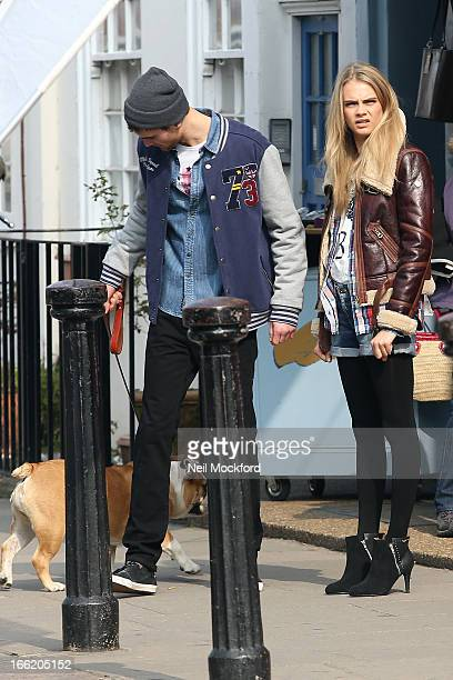 Cara Delevingne seen on a photoshoot on Portobello Road on April 10 2013 in London England
