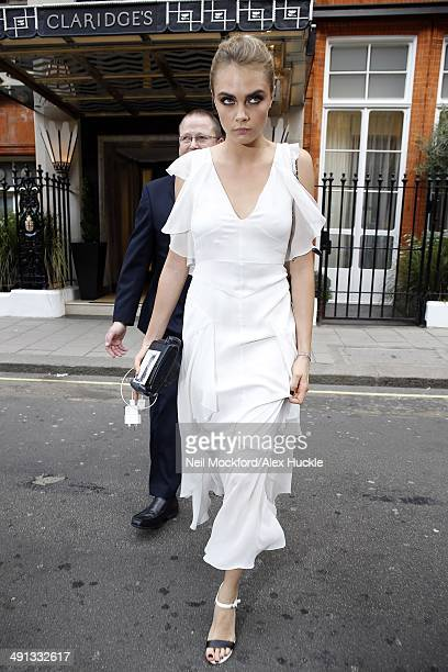 Cara Delevingne sighted leaving Claridges Hotel prior to sister Poppy's wedding on May 16 2014 in London England