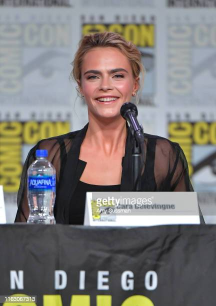 Cara Delevingne speaks at the Carnival Row Panel during 2019 ComicCon International at San Diego Convention Center on July 19 2019 in San Diego...
