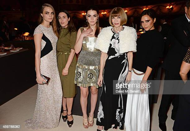 Cara Delevingne Tallulah Harlech Bee Shaffer Anna Wintour and Victoria Beckham attend a drinks reception at the British Fashion Awards at the London...