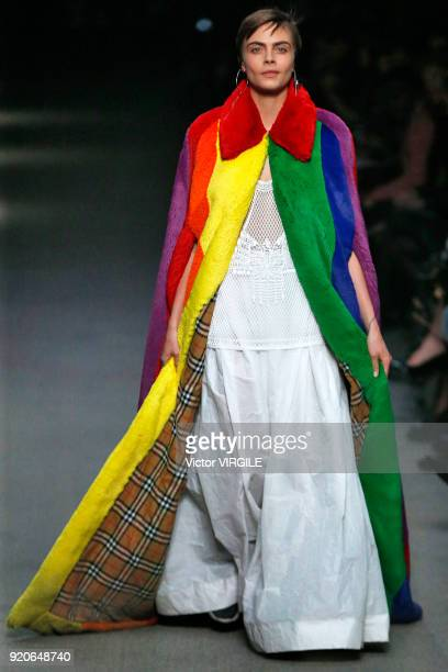 Cara Delevingne walks the runway at the Burberry Ready to Wear Fall/Winter 20182019 fashion show during London Fashion Week February 2018 on February...