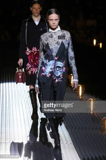 Cara Delevingne walks the runway at the Prada show at Milan Fashion Week Autumn/Winter 2019/20 on February 21, 2019 in Milan, Italy.
