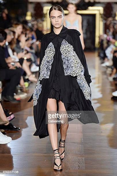 Cara Delevingne walks the runway at the Stella McCartney Spring Summer 2015 fashion show during Paris Fashion Week on September 29 2014 in Paris...