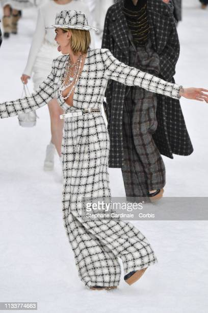 Cara Delevingne walks the runway during the Chanel show as part of the Paris Fashion Week Womenswear Fall/Winter 2019/2020 on March 05 2019 in Paris...