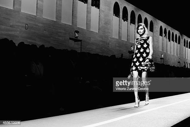 Cara Delevingne walks the runway during the Fendi show as a part of Milan Fashion Week Womenswear Spring/Summer 2015 on September 18 2014 in Milan...