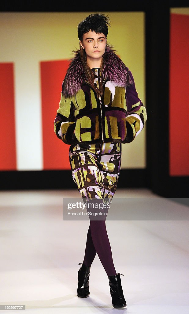 Cara Delevingne walks the runway during the Jean-Paul Gaultier Fall/Winter 2013 Ready-to-Wear show as part of Paris Fashion Week on March 2, 2013 in Paris, France.