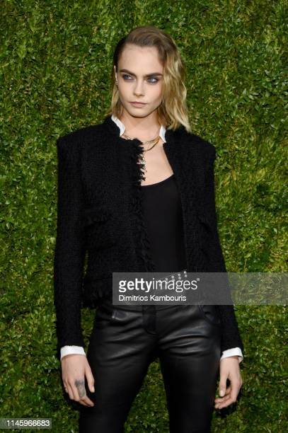 Cara Delevingne, wearing CHANEL, attends as CHANEL hosts 14th Annual Tribeca Film Festival Artists Dinner at Balthazar on April 29, 2019 in New York...