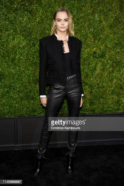 Cara Delevingne wearing CHANEL attends as CHANEL hosts 14th Annual Tribeca Film Festival Artists Dinner at Balthazar on April 29 2019 in New York City