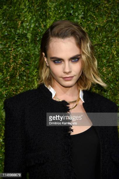 Cara Delevingne wearing CHANEL attends CHANEL hosts 14th Annual Tribeca Film Festival Artists Dinner at Balthazar on April 29 2019 in New York City