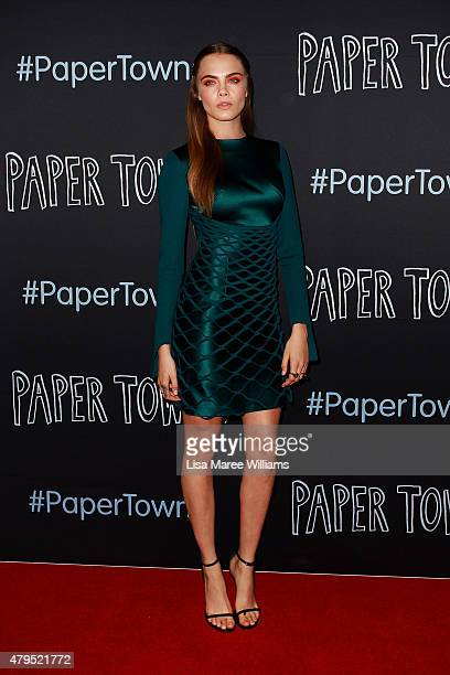 Cara Delevingne wears Dion Lee at the Australian premiere of 'Paper Towns' at Miranda Westfield on July 5, 2015 in Sydney, Australia.