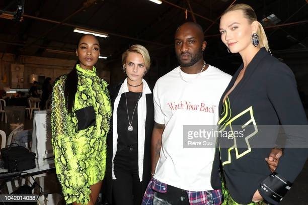 Cara DelevingneVirgil Abloh and Karlie Kloss are seen backstage before the OffWhite show as part of the Paris Fashion Week Womenswear Spring/Summer...