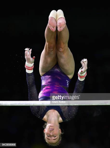 Cara Kennedy of Scotland competes on the uneven bars in the Women's Individual AllAround Final during Gymnastics on day three of the Gold Coast 2018...