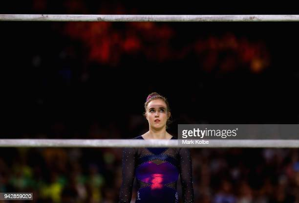 Cara Kennedy of Scotland waits to compete on the uneven bars in the Women's Individual AllAround Final during Gymnastics on day three of the Gold...