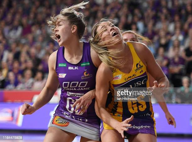 Cara Koenen of the Lightning contests the ball with Kim Jenner of the Firebirds during the round 10 Super Netball match between the Firebirds and the...