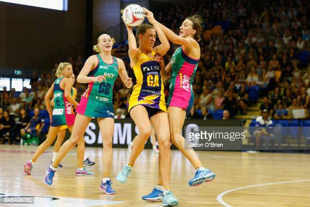 Cara Koenen of the Lightning in action during the round two Super Netball match between the Queensland Firebirds and the Melbourne Vixens at...