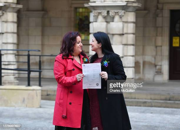 Cara McCann and her partner Amanda McGurk , who both helped lead the Love Equality campaign for same-sex marriage rights in Northern Ireland display...