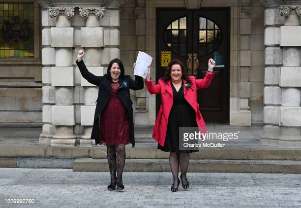 Cara McCann and her partner Amanda McGurk , who both helped lead the Love Equality campaign for same-sex marriage rights in Northern Ireland hold...