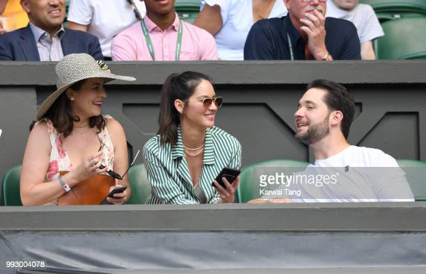 Cara McConnell Olivia Munn and Alexis Ohanian attend day five of the Wimbledon Tennis Championships at the All England Lawn Tennis and Croquet Club...
