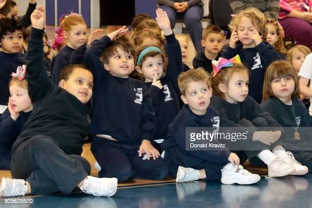 Cara Mund Miss America 2018 speaks to students who raise their hands to ask questions at St Joseph Regional School on February 28 2018 in Somers...