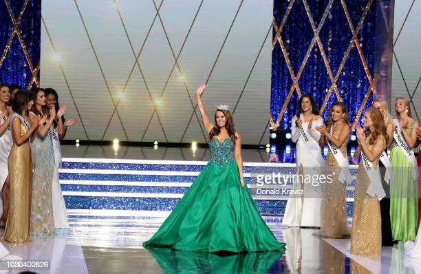 Cara Mund, Miss America 2018 takes her final walk on stage at the Miss America 2019 Finals at Atlantic City Boardwalk Hall on September 9, 2018 in...