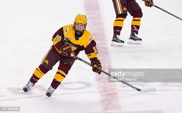 Cara Piazza of the Minnesota Golden Gophers skates against the Boston College Eagles during the 2016 NCAA Division I Women's Hockey Frozen Four...