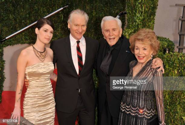 Cara Santa Maria tv personality Bill Maher actor Kirk Douglas and Anne Buydens arrive at the 2010 Vanity Fair Oscar Party hosted by Graydon Carter...