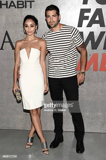 Cara Santana and Actor Jesse Metcalfe attend the opening event for New York Fashion Week Men's S/S 2016 at Amazon Imaging Studio on July 13 2015 in...