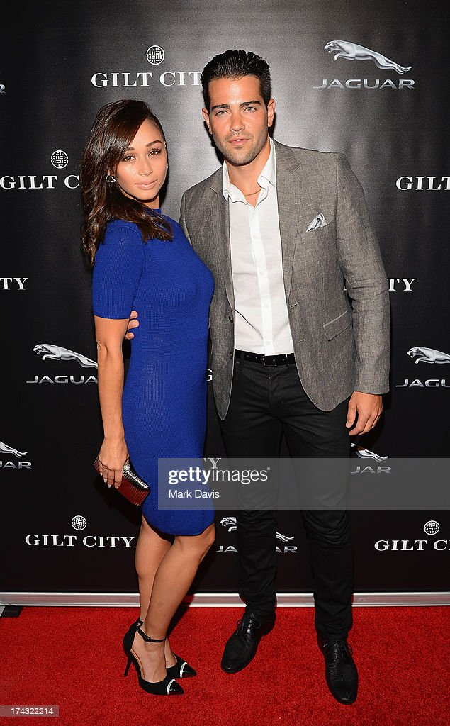 Cara Santana (L) and actor Jesse Metcalfe pose at the 'Jaguar and Gilt celebrate #MyTurnToJag' held at Siren Studios on July 23, 2013 in Hollywood, California.