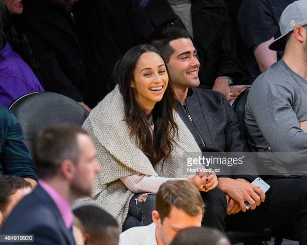 Cara Santana and Jesse Metcalfe attend a basketball game between the Oklahoma City Thunder and the Los Angeles Lakers at Staples Center on March 1...