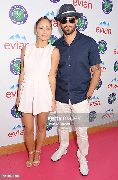 Cara Santana and Jesse Metcalfe attend the evian Live Young suite on the opening day of Wimbledon at the All England Lawn Tennis and Croquet Club on...