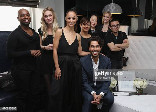 Cara Santana and Joey Maalouf with makeup artisit and hairstylist at The Glam App Launches in New York on April 23 2015 in New York City