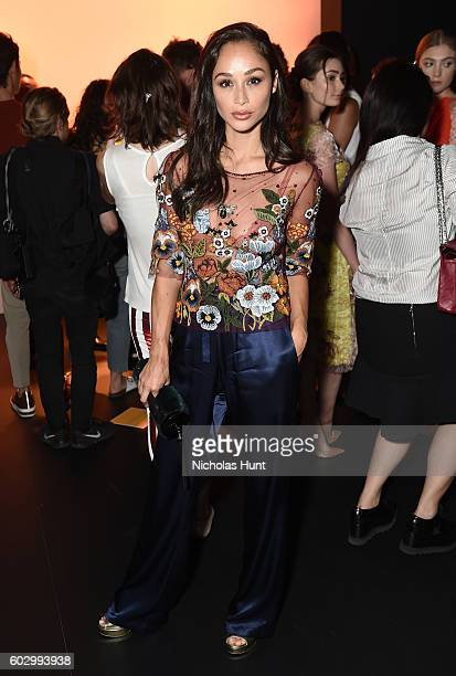 Cara Santana attends the Jenny Packham fashion show during New York Fashion Week The Shows at The Dock Skylight at Moynihan Station on September 11...