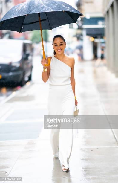 Cara Santana is seen wearing a Baja East jumpsuit By Far shoes Vita Fede jewelry and Lilian Afshar handbag in the Lower East Side on August 28 2019...