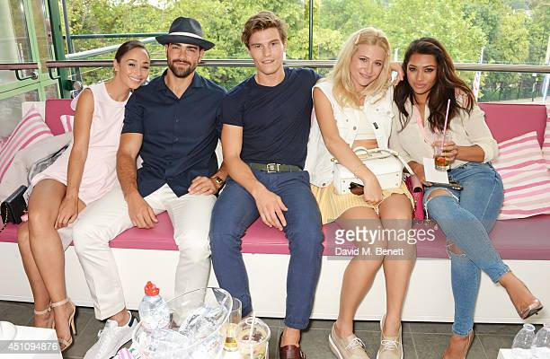 Cara Santana Jesse Metcalfe Oliver Cheshire Pixie Lott and Vanessa White attend the evian Live Young suite on the opening day of Wimbledon at the All...