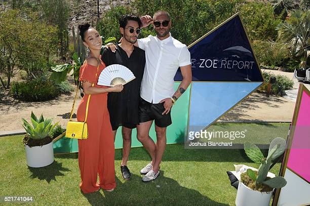 Cara Santana Joey Maalouf and Adam Drawas arrive at ZOEasis presented by The Zoe Report and Guess on April 16 2016 in Palm Springs California