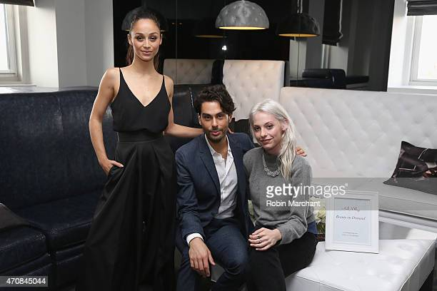 Cara Santana Joey Maalouf and Cory Kennedy attend The Glam App Launches in New York on April 23 2015 in New York City