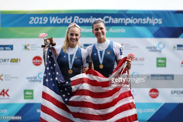 Cara Stawicki and Margaret Bertasi of The United States of America pose for a photograph at the medal ceremony after winning the Gold medal in the...