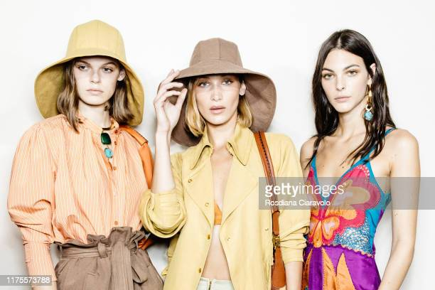 Cara Taylor, Bella Hadid and Vittoria Ceretti pose during backstage for Alberta Ferretti fashion show during the Milan Fashion Week Spring/Summer...