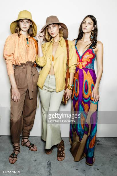 Cara Taylor Bella Hadid and Vittoria Ceretti pose during backstage for Alberta Ferretti fashion show during the Milan Fashion Week Spring/Summer 2020...