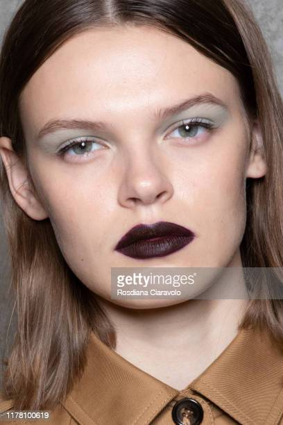 Cara Taylor, make up detail, poses during the backstage for Max Mara fashion show during the Milan Fashion Week Spring/Summer 2020 on September 19,...