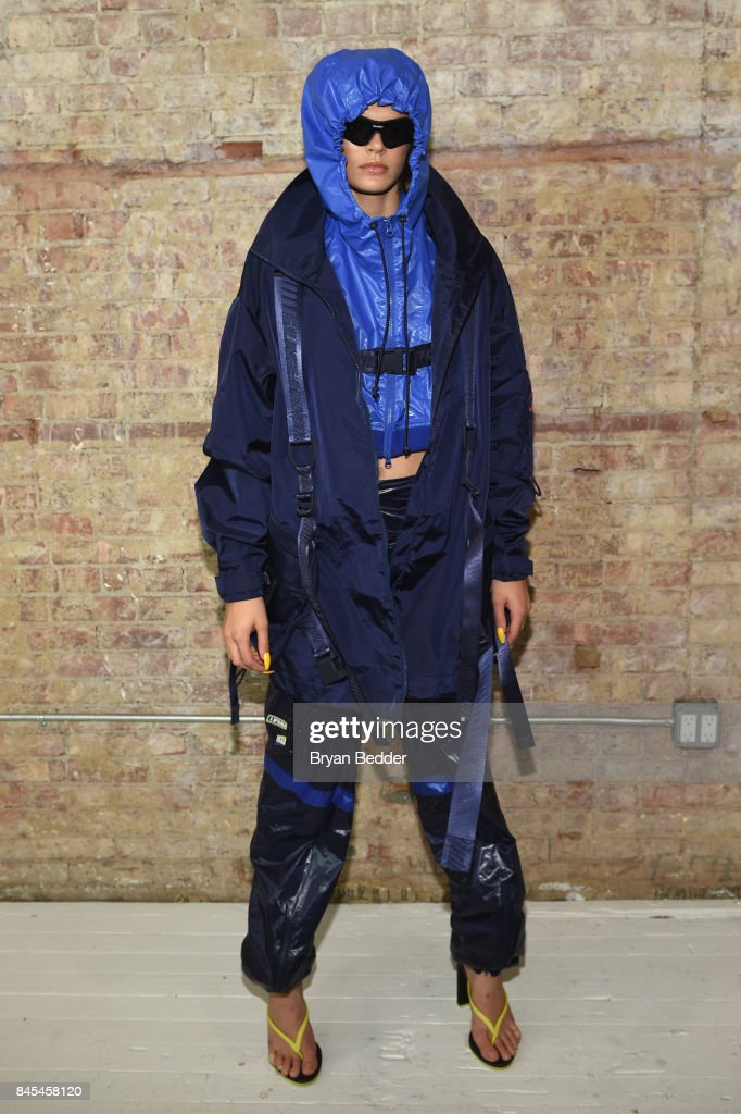 Cara Taylor poses backstage at the FENTY PUMA by Rihanna Spring/Summer 2018 Collection at Park Avenue Armory on September 10, 2017 in New York City.