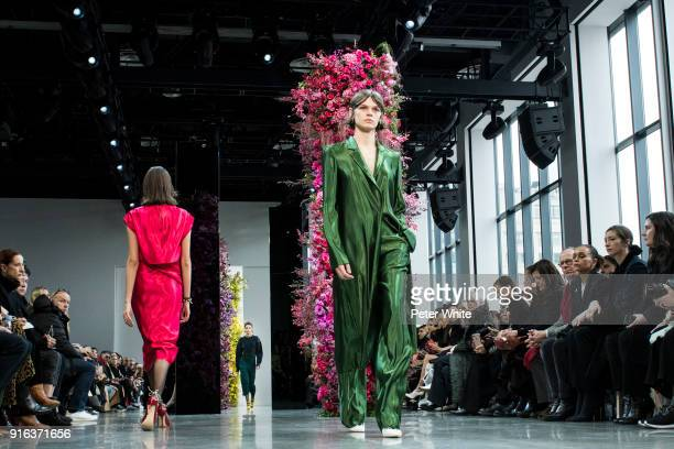 Cara Taylor walks the runway at Jason Wu Fashion Show during New York Fashion Week The Shows at Gallery I at Spring Studios on February 9 2018 in New...