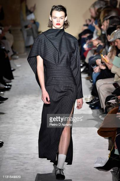 Cara Taylor walks the runway at the Salvatore Ferragamo show at Milan Fashion Week Autumn/Winter 2019/20 on February 23 2019 in Milan Italy