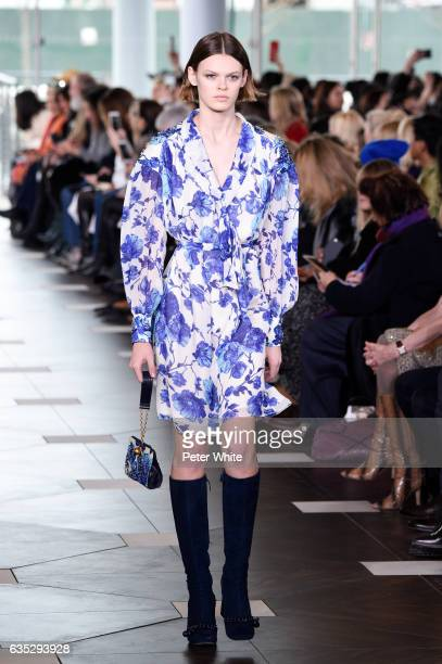 Cara Taylor walks the runway at the Tory Burch FW17 Show during New York Fashion Week at at The Whitney Museum of American Art on February 14 2017 in...