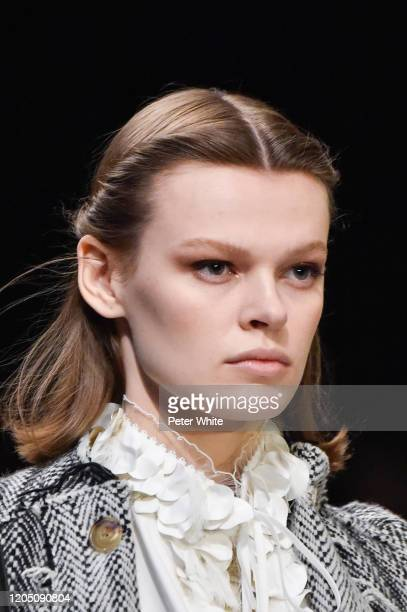 Cara Taylor walks the runway during the Tory Burch Fall Winter 2020 Fashion Show at Sotheby's on February 09, 2020 in New York City.