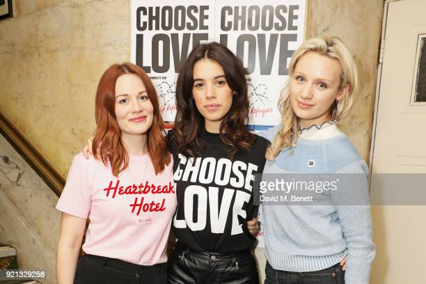 Cara Theobold Gala Gordon and Emily Berrington attend the Choose Love fundraiser in aid of Help Refugees at The Fortune Theatre on February 19 2018...