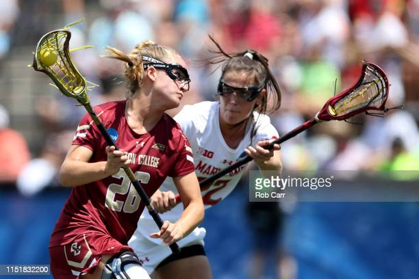 Cara Urbank of Boston College Eagles runs with the ball past Grace Griffin of Maryland Terrapins during the first half of the 2019 NCAA Division I...