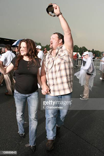 Cara Whitney and Larry The Cable Guy during Premiere of Disney Pixar's CARS at Lowe's Motor Speedway at Lowe's Motor Speedway in Charlotte NC United...