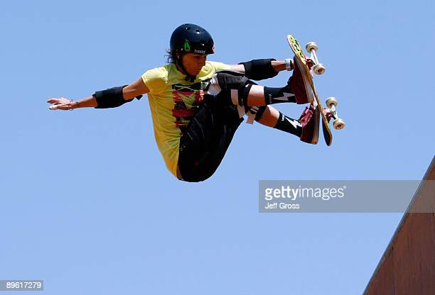 CaraBeth Burnside competes in the Women's Skateboard Vert Final during X Games 15 at the Home Depot Center on July 30 2009 in Carson California