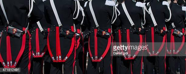 Carabineers in full uniform, national meeting, detail of the back